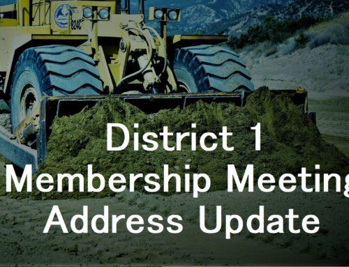 January 2020 District 1 Membership Meeting Location Change